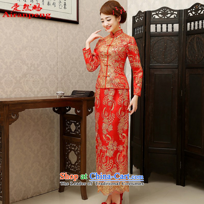 2014 New Chinese wedding dress Sau Wo service long cotton bows to sepia bride qipao autumn and winter red autumn the cotton XL package returning