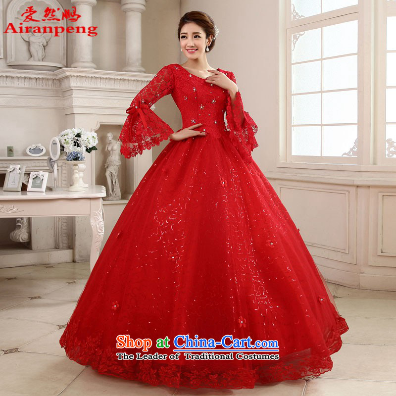To align the long-sleeved wedding dresses 2015 new red marriages white lace straps for larger autumn and winter video thin red�XXL do not need to return