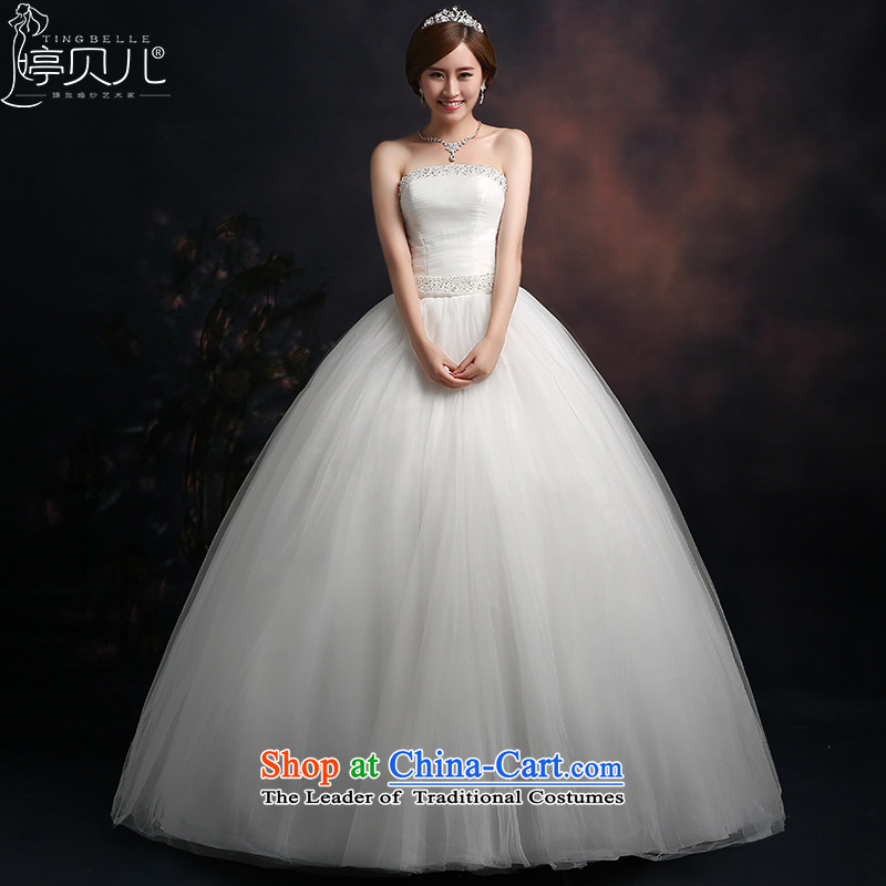 Beverly Ting anointed chest Wedding 2015 new spring and summer fall Korean Sau San video thin wedding dresses diamond larger straps to align, White聽XXL