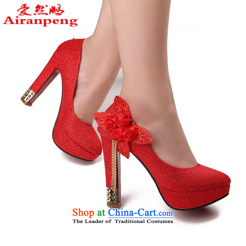Lisa Philip Yung fall very sweet flowers or port marriage shoes round head shoes with fine Ladies Footwear High Heels click shoes national package mail聽37 Red 12 cm high