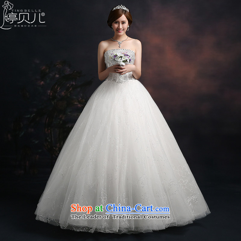 Beverly Ting wedding dresses in spring and summer 2015 new stylish Korean anointed chest wedding code strap graphics to align the thin lace, Diamond White S