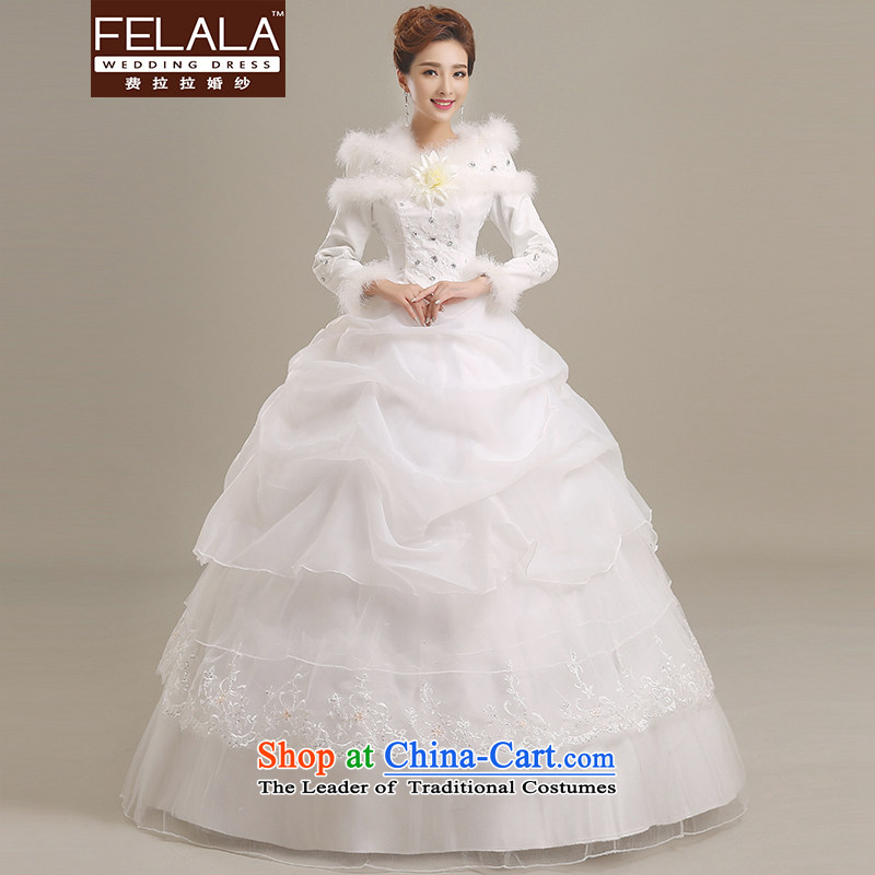 Ferrara?2015 new Korean sweet wedding thick cotton plus long-sleeved wedding dresses, large winter autumn and winter wedding?L(2 feet 1)