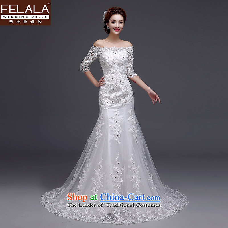 Ferrara?2015 Winter New Sau San video thin thick crowsfoot slotted shoulder wedding dresses?M(2 feet)