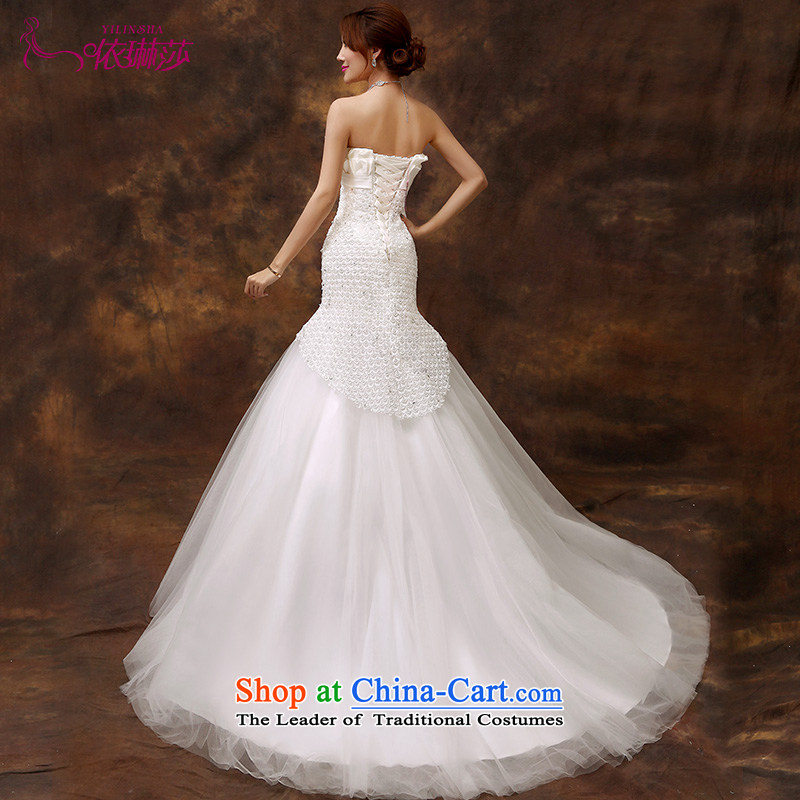 2015 new stylish wedding dress Korean minimalist shoulder foutune crowsfoot video thin lace tail straps retro tailored contact customer service