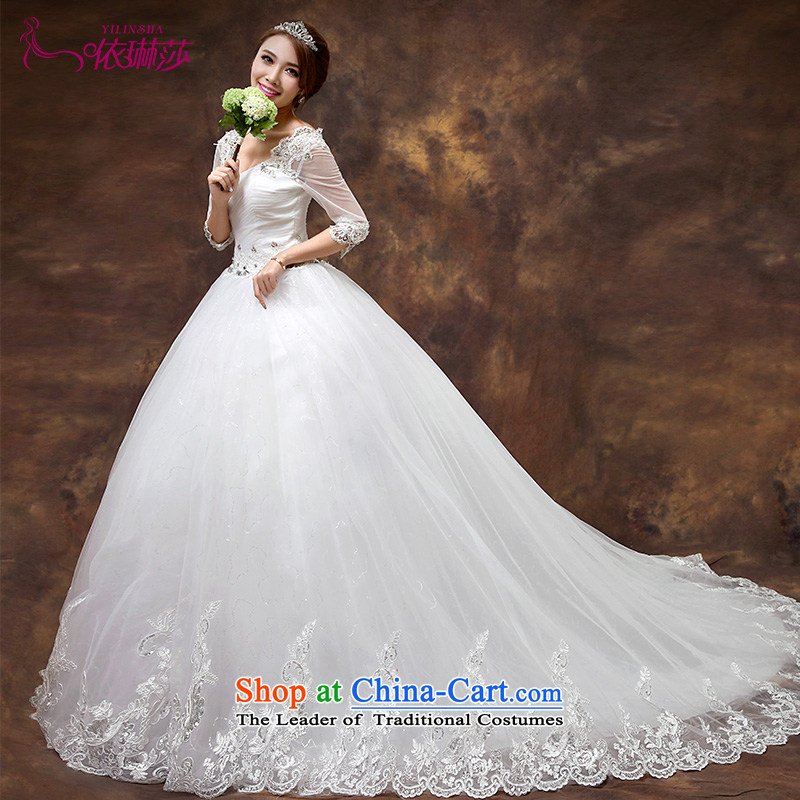 According to Lin Sha 2015 new wedding dresses in the shoulder of the word Cuff   Large wedding dresses tail western retro lace long tail are code