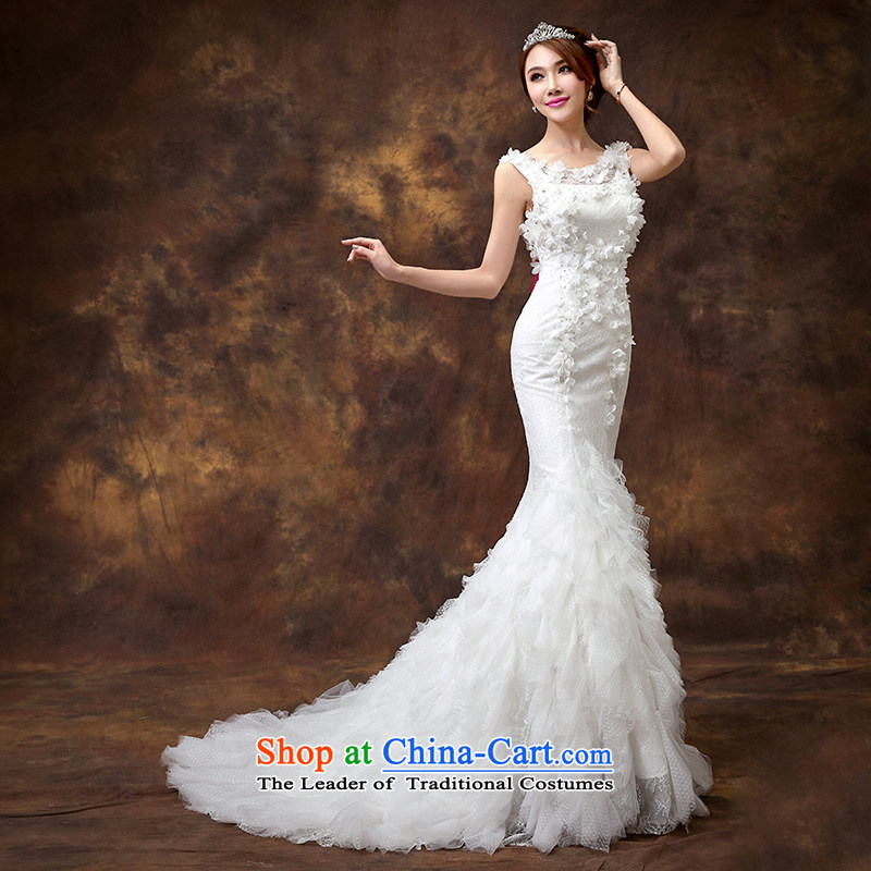 According to Lin Sha 2015 new wedding dresses Korean Foutune of video thin crowsfoot wedding plain manual flowers custom wedding tailored contact customer service