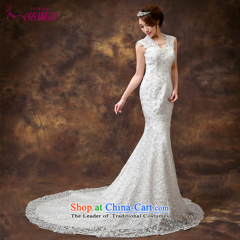 According to Lin Sa 2015 crowsfoot tail wedding new stylish Korean Sau San lace shoulder straps crowsfoot wedding dresses are code