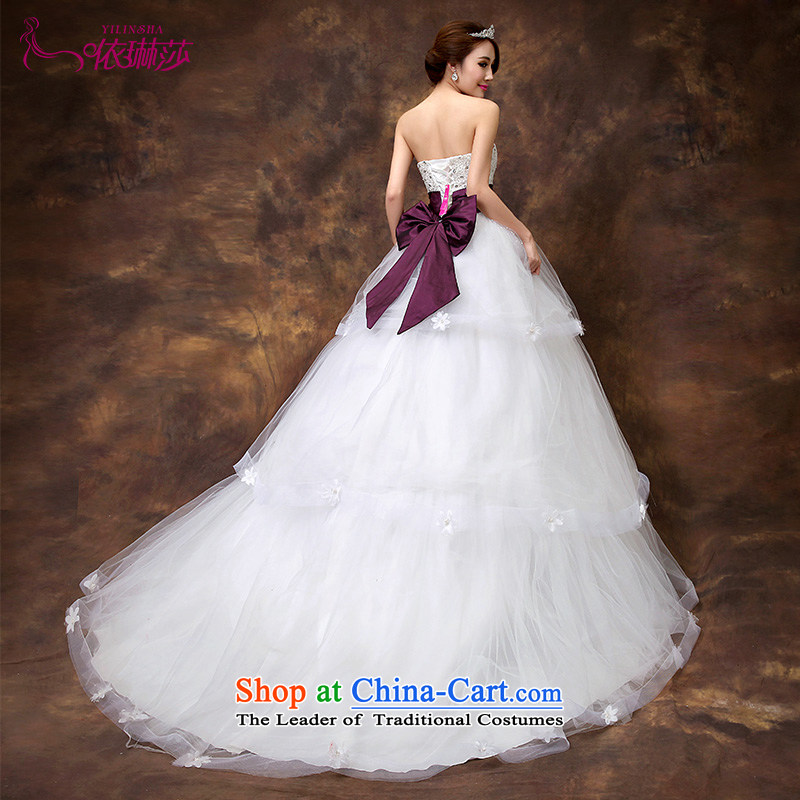 According to Lin Sa 2015 wedding tail highstreet Korean big bow tie bride small trailing wedding dresses nail-joo?S