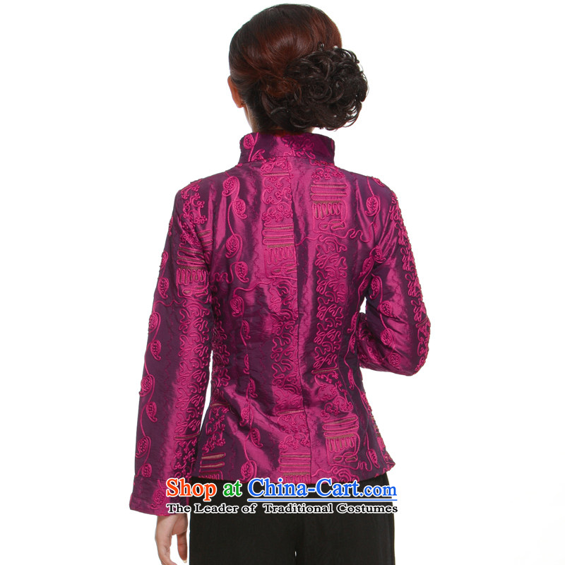 In spring and autumn 2015 new cross-tray clip Tang dynasty, Short Piece Collar Sau San Li aware�QN2881 jacket Yugoslavia�aubergine�XL