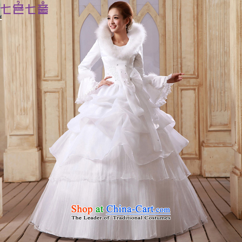 7 Color 7 tone Korean winter 2015 new stylish long-sleeved plus cotton married women warm winter clothing to align the wedding dresses�H048�white zipper�XL