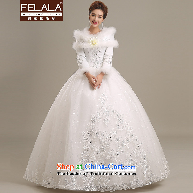Ferrara�2015 winter new long-sleeved sweet word shoulder lace wedding Sau San warm plus cotton waffle�L(2 female foot 1)
