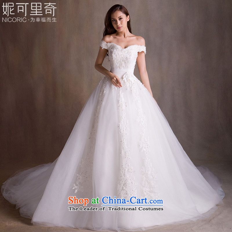 Wedding dresses new Word 2015 Autumn stylish shoulder Wedding Super Long Tail wedding marriages wedding code strap video thin wedding female winter tail 100CM M standard code 10 day shipping)