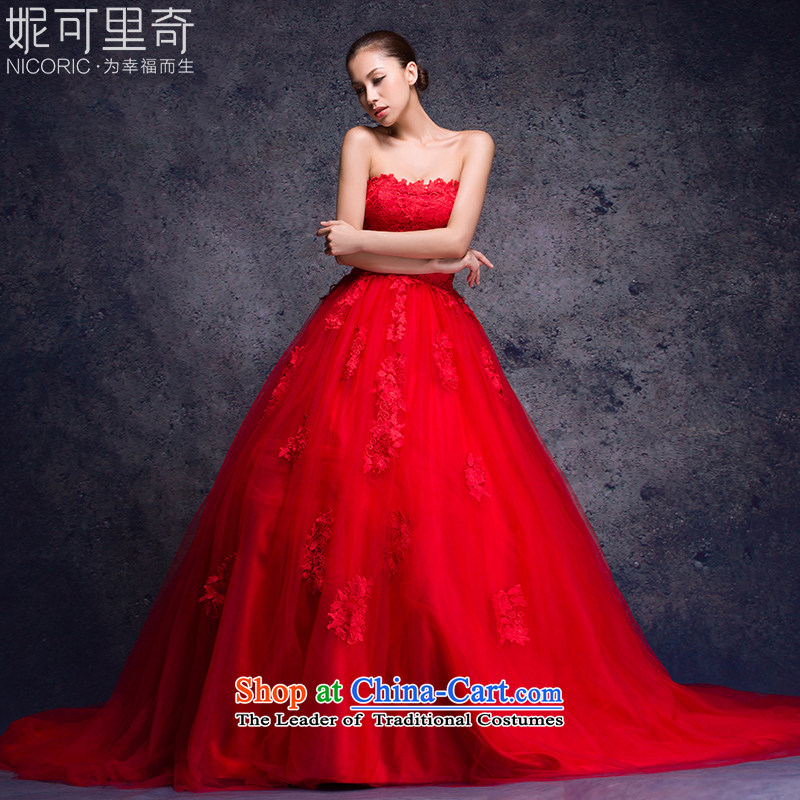 Wedding dresses new 2015 Autumn red anointed chest wedding manually bind with long wire blossoms tail marriages wedding winter tail L(7 100CM days no reason to return)