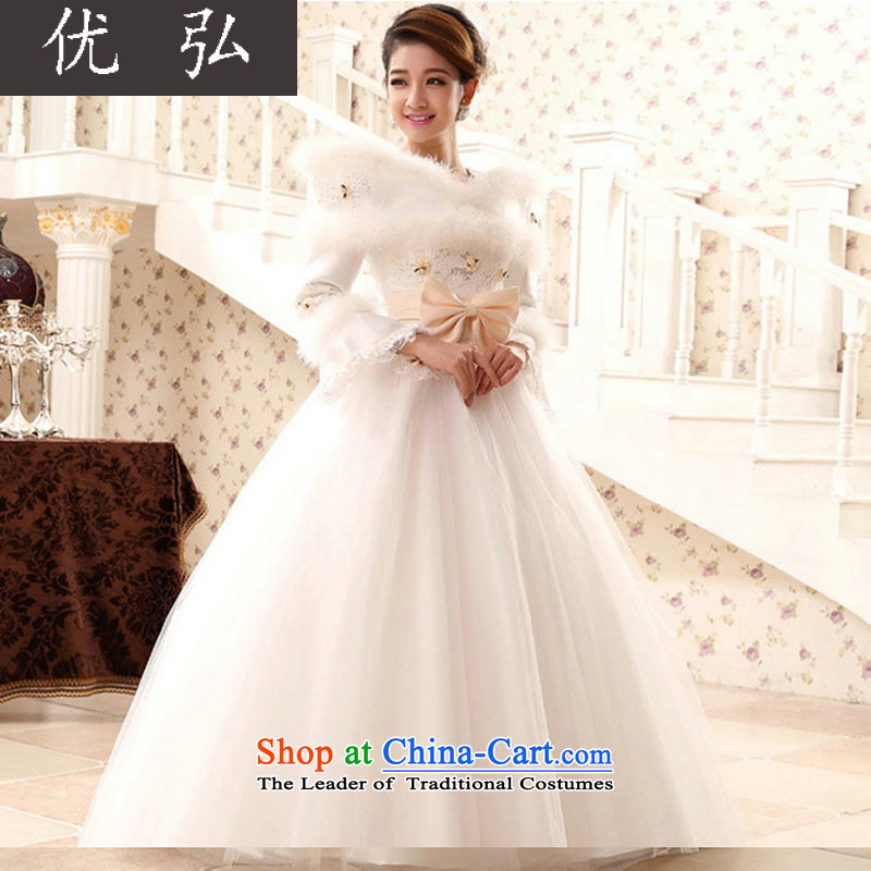 Optimize video winter new long-sleeved warm wedding Word 2014 shoulder high-end marriages wedding white princess bon bon skirt聽QH5501聽White聽XL