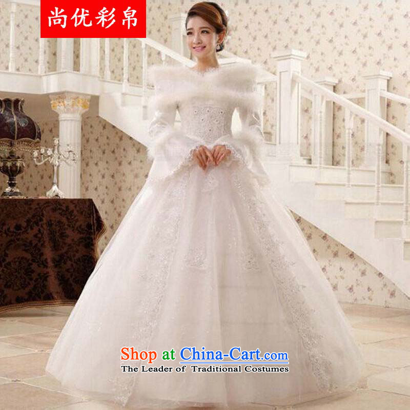 There is also optimized 8D winter wedding dresses marriages a shoulder straps align field to bon bon skirt for winter qh1311 long-sleeved white�XS