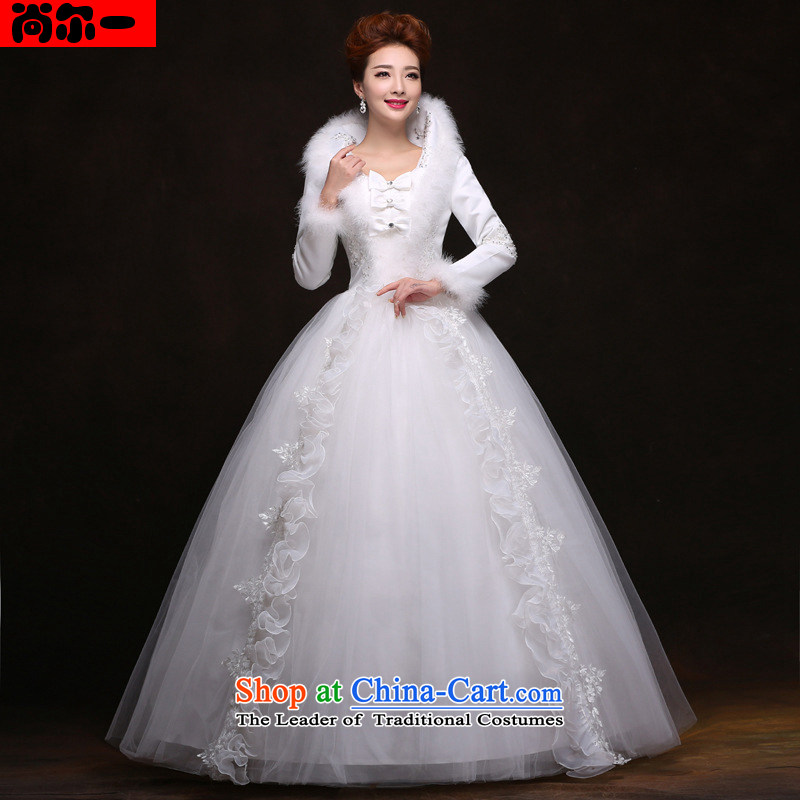Yet, a winter 2014 new winter wedding dresses long-sleeved gross for thick cotton folder wedding yf6562 white?L