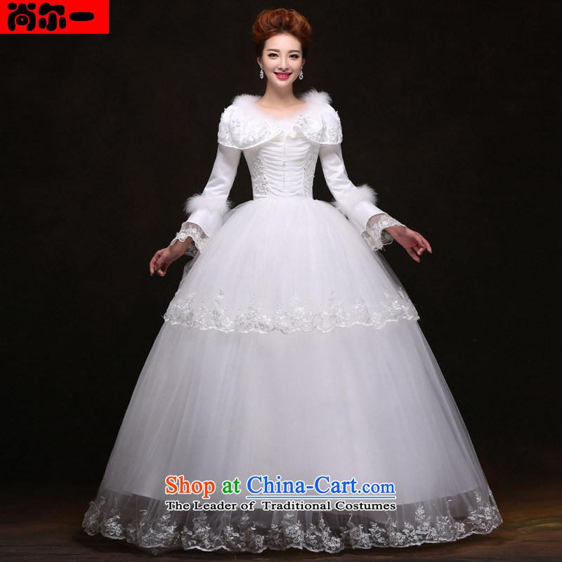 Naoji a new 2014 winter wedding dress the cotton waffle long-sleeved wedding yf6421 White?XL