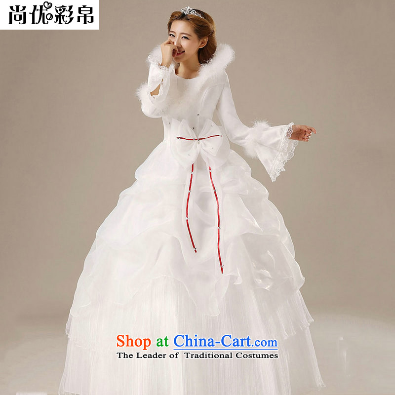 There is also optimized 8D bride winter wedding gross for long-sleeved collar wedding plus cotton waffle qh1312 white�S