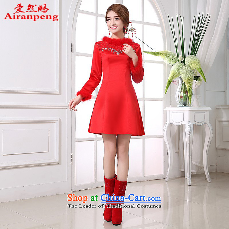 Long-sleeved qipao gown bride fall inside the new 2014 Red bows dress uniform winter marriage, the major short code?L package returning