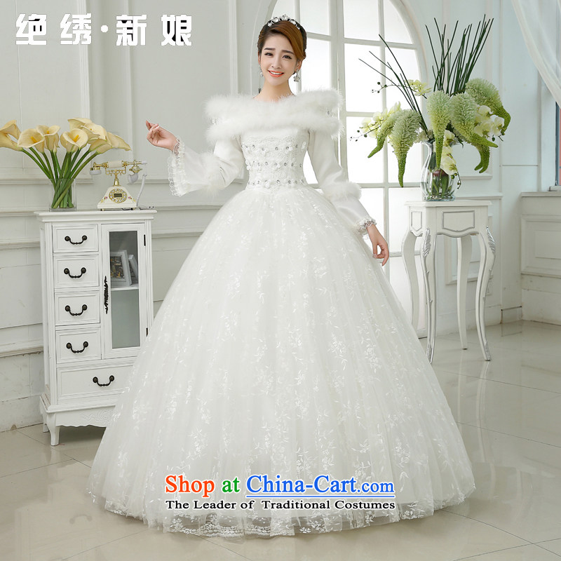 Embroidered Bride of Winter clothing is by no means a new marriage won 2015 version of the word long-sleeved winter thick winter of base cotton wedding White�M�2 feet waist Suzhou Shipment