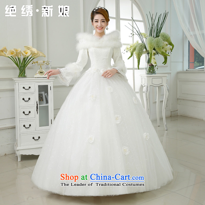 Embroidered Bride of Winter clothing is by no means a new marriage won 2015 version of the word long-sleeved winter thick winter of base cotton wedding white?L code?2 feet 1 waist Suzhou Shipment