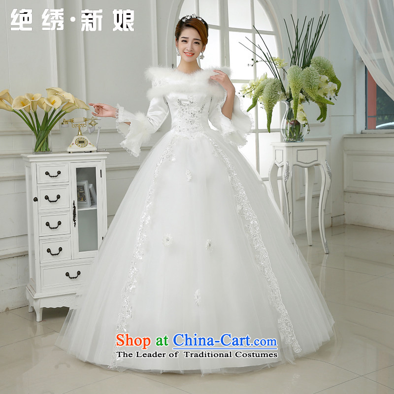 Embroidered is the?new 2015 bride thick winter clothing winter long-sleeved winter of marriage lace Sau San Wedding White?XL code?2 ft 2 waist Suzhou Shipment