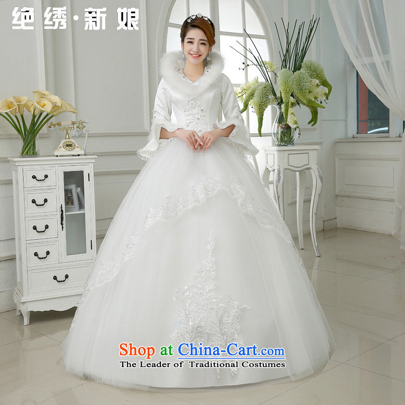 Embroidered is the�new 2015 bride thick winter clothing marriage winter long-sleeved lace Sau San Wedding White�XXL�2 ft 3 waist Suzhou Shipment