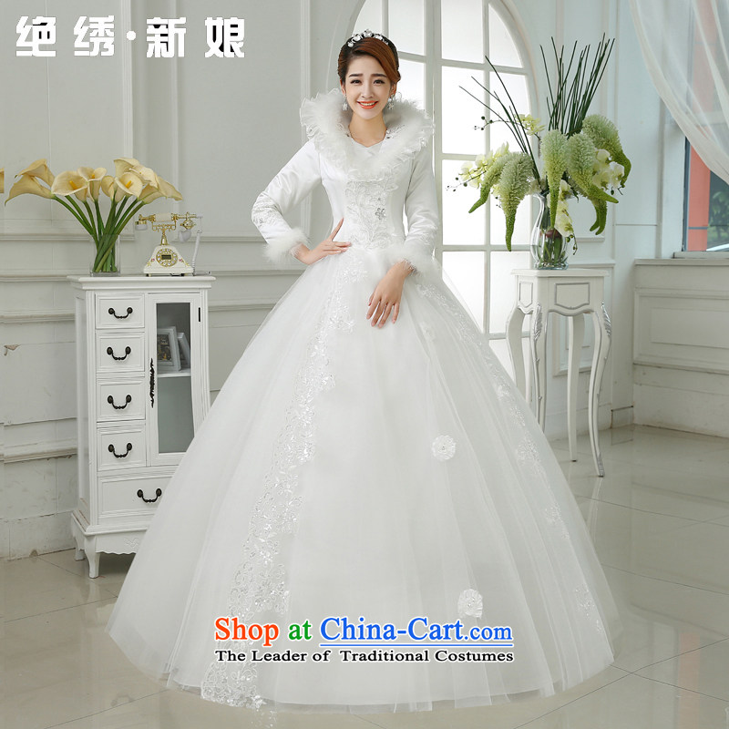 Embroidered bride upscale winter is no wedding dresses 2015 new winter marriage winter clothing cotton long-sleeved white wedding�XXXL 2 ft 4 waist Suzhou Shipment