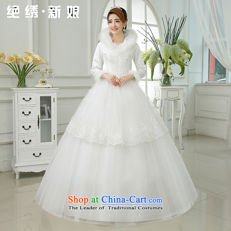 Embroidered is by no means a bride wedding dresses new 2015 warm winter thick collar gross winter bride winter long-sleeved wedding White?M?2 feet waist Suzhou Shipment