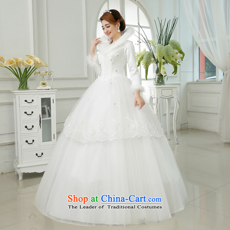 Embroidered is by no means a bride wedding dresses new 2015 warm winter thick collar gross winter bride winter long-sleeved wedding White M 2 feet waist, Suzhou embroidery brides shipment has been pressed shopping on the Internet