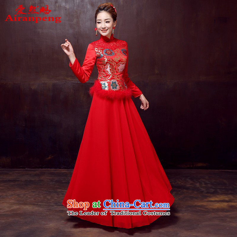 Love So Peng 2014 autumn and winter new long-sleeved cheongsam dress long Sau San marriages red winter clothing, bows cotton qipao?XXL NEED TO DO NOT RETURN