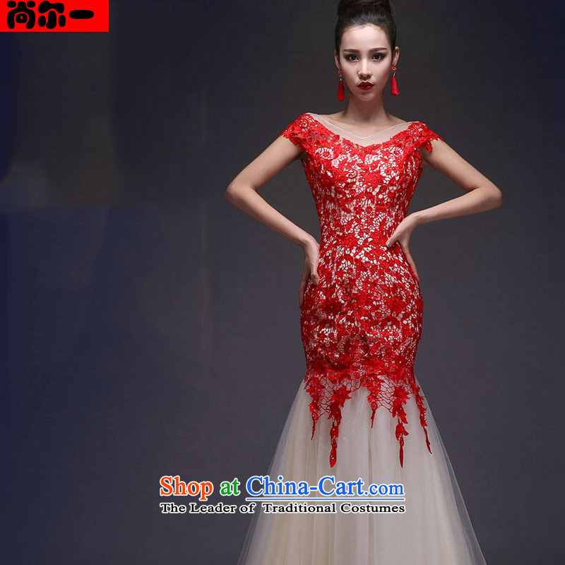 Yet, a wedding dresses new shoulders crowsfoot Sau San lace long strap evening dress xs5269 red?S