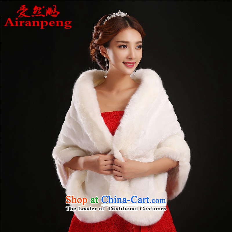 The new wedding gross 2014 Winter, marriage shawl red and white thick intensify emulation fox bride and fur D. White