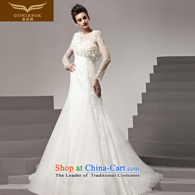 The kitsune tailored Creative wedding2015 new white long-sleeved stylish romantic wedding bride wedding long tail wedding dresses 90160 tailored White
