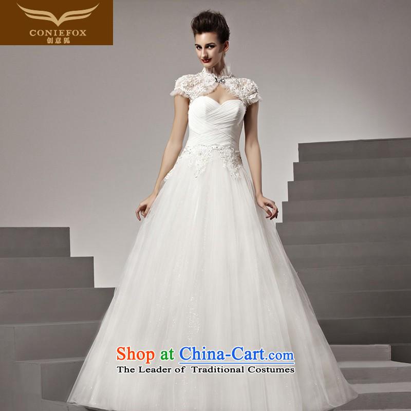 The kitsune tailored Creative wedding bride anointed chest to wedding elegant long white wedding marriage wedding 90161 tailored White