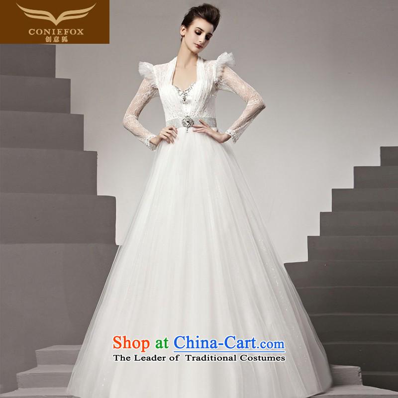 The kitsune Creative wedding dresses tailored wedding elegant white lace long-sleeved wedding irrepressible marriages to align the wedding 90180 tailored White