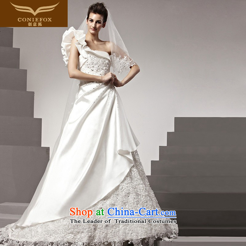 The kitsune tailored Creative wedding new unique three-dimensional shoulder design wedding continental grand marriage wedding to drag the white wedding 90196 tailored White