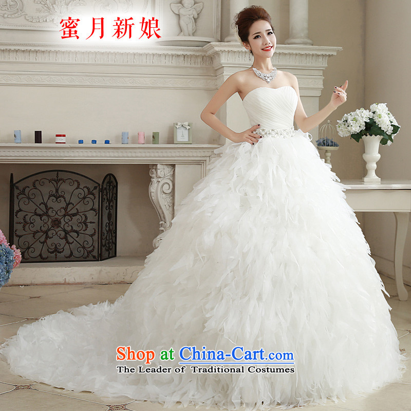 Honeymoon bride wedding dresses?2015 Winter, wedding classic wiping the Chest Korean Princess feather tail wedding white?S