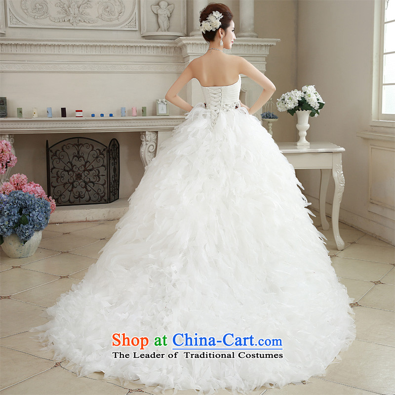 Honeymoon bride wedding dresses聽2015 Winter, wedding classic wiping the Chest Korean Princess feather tail wedding white聽S honeymoon bride shopping on the Internet has been pressed.