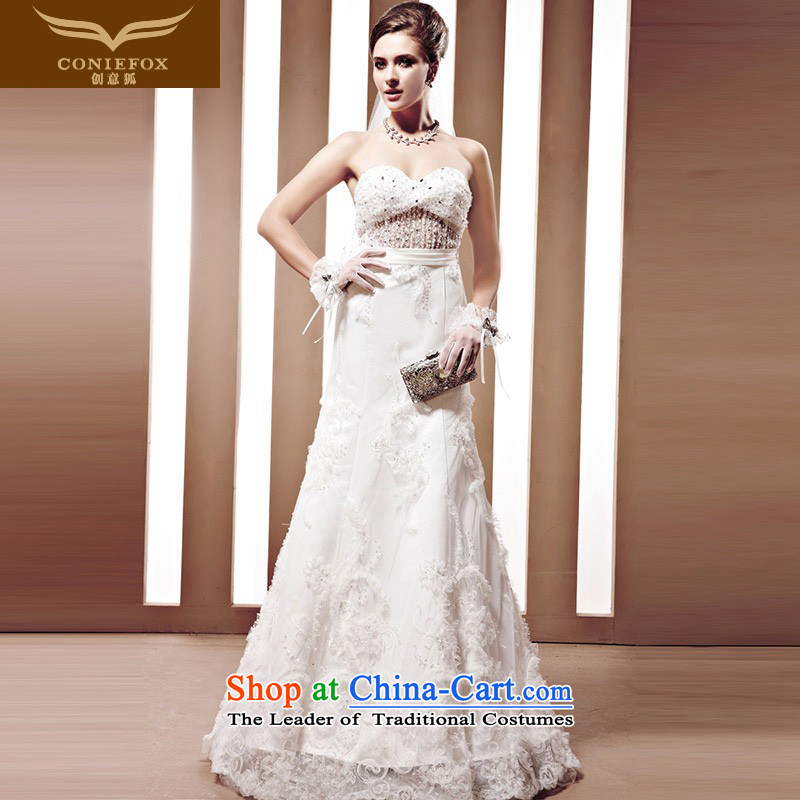 The kitsune tailored Creative wedding dresses hand nailed on-chip beads Korea drill sweet princess continental wedding dresses to align the white wedding 90062 tailored
