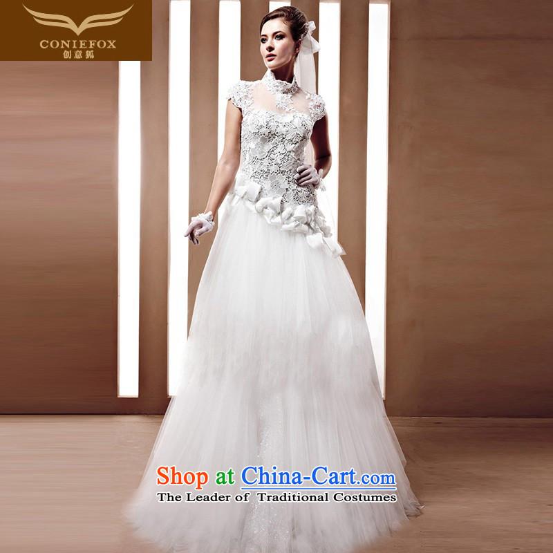The kitsune Creative wedding tailored bride high-end custom wedding Foutune of Korean Bridal Suite white wedding 90056 tailored White