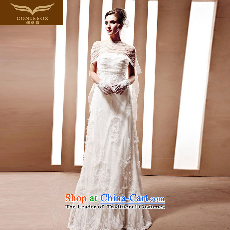 The kitsune Creative wedding tailored white bride wedding noble graphics thin marriage wedding princess bon bon skirts and elegant wedding 90022 tailored White