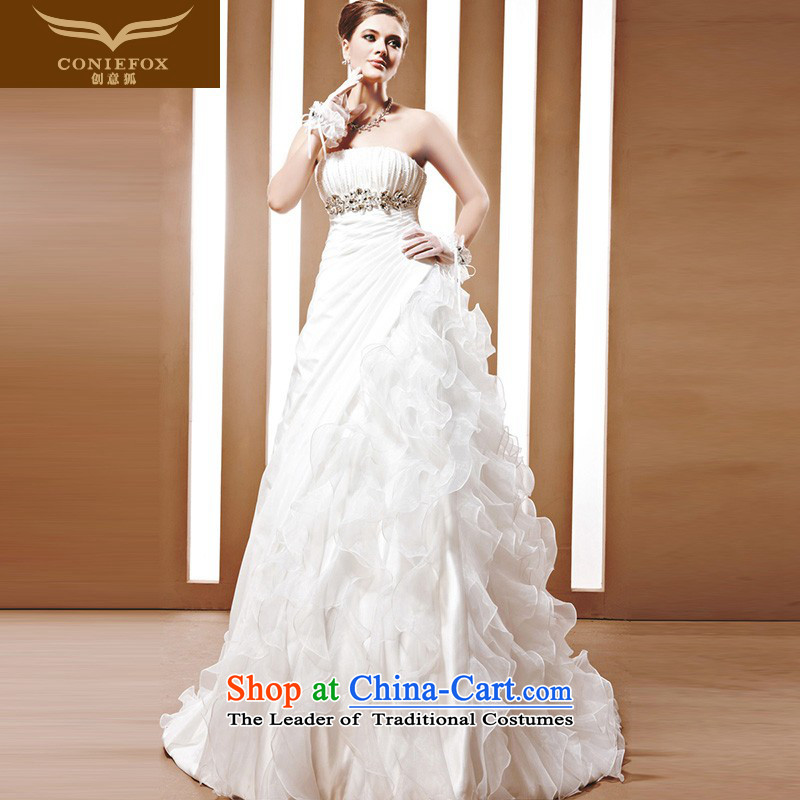 Creative Fox tailored bride wedding dresses white anointed chest marriage wedding princess bon bon skirt stylish wedding dresses 90055 tailored White