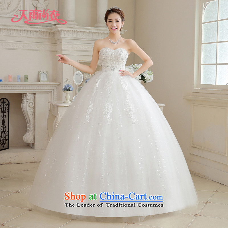 Rain-sang yi bride wedding dress 2015 new Korean white breast tissue stylish Bow Tie Diamond Video thin large pregnant women wedding HS886 White�M