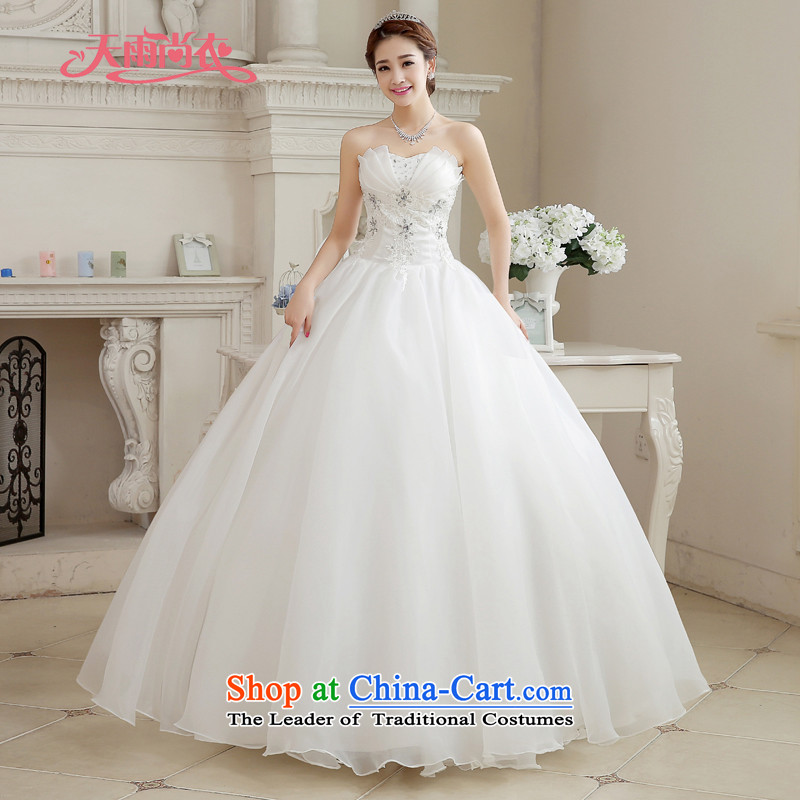 Rain-sang yi 2015 new bride wedding dress white wedding gown Princess Mary Magdalene chest stylish large thin align graphics to wedding HS887 white L