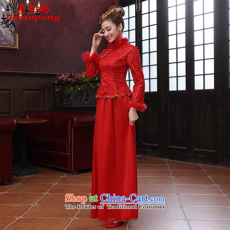Red Chinese Winter plus cotton plus gross warm piping wedding dresses long bows to women's bride cheongsam dress�XXL NEED TO DO NOT RETURN