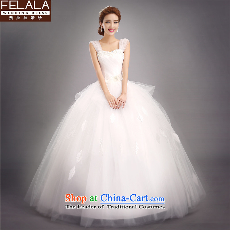 Ferrara?2015 new wedding dresses Korean style wedding winter lace wedding dress the word shoulders two wearing shoulder?S(1 gauge 9