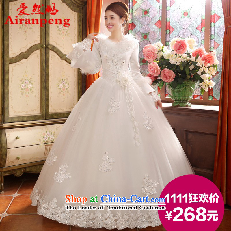 Wedding dresses new 2014 winter wedding long-sleeved thick Korean version for autumn and winter, of gross cotton replace�S return package