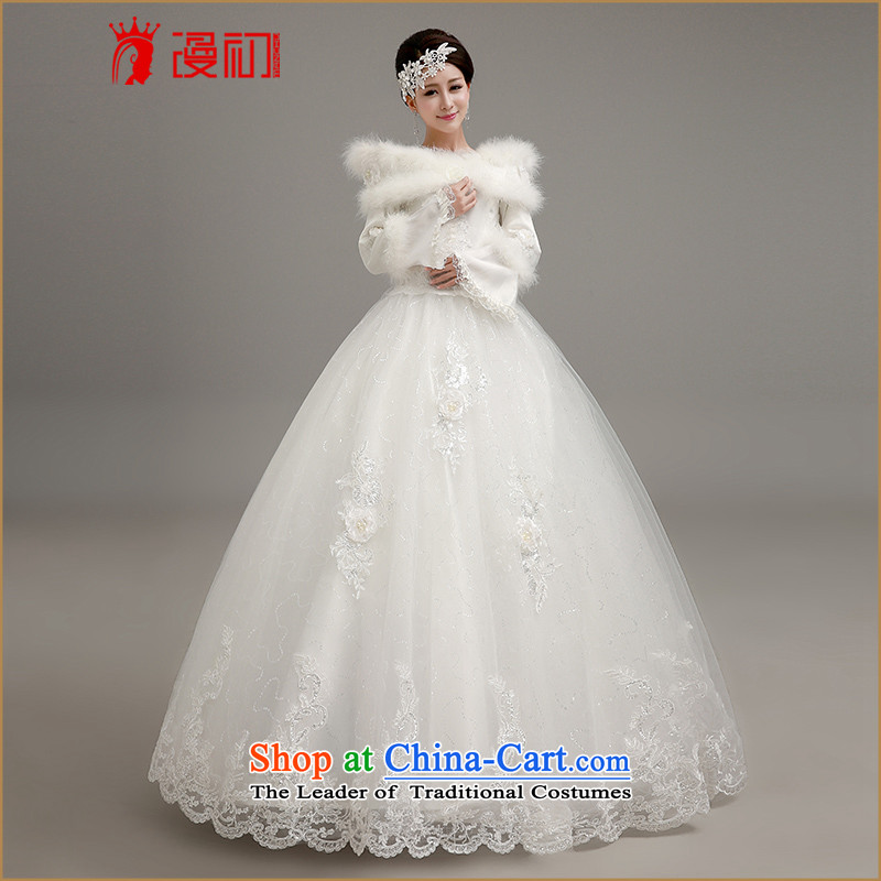 In the early 2015 new man winter video thin wedding thick warm winter marriage wedding dresses Korean straps to align the white bon bon wedding dress code White XXL