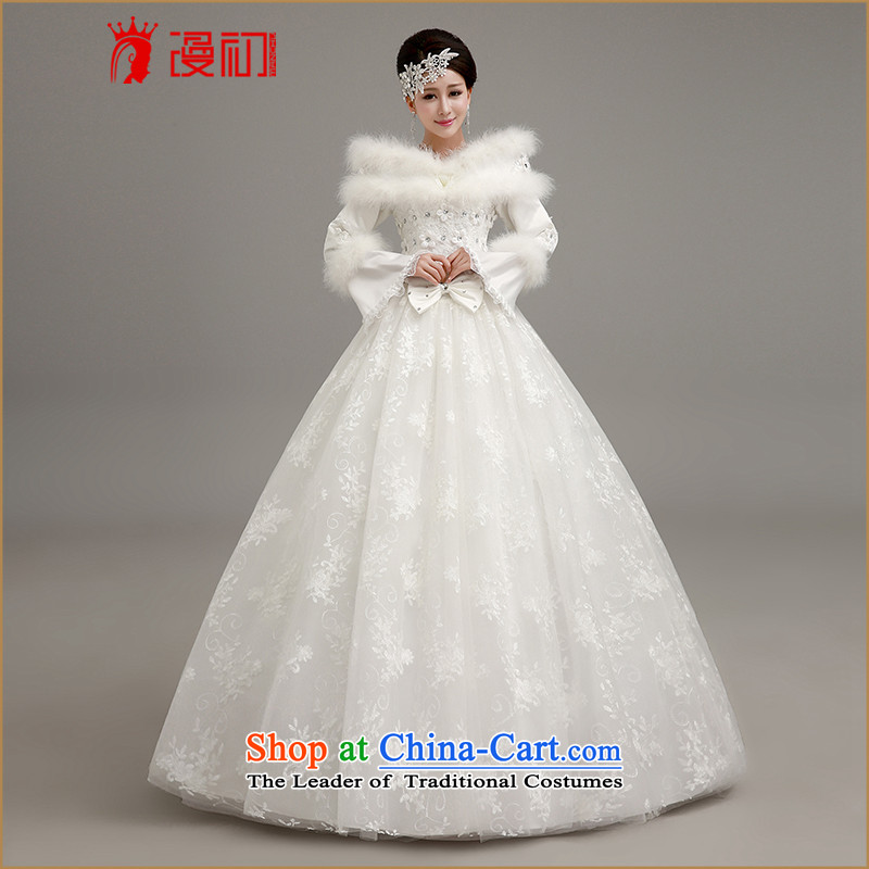 Diffuse the early winter video thin Wedding 2015 new thick warm winter marriage wedding dresses Korean winter, align the strap to white bon bon skirt wedding White聽M code